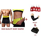 MARK AMPLE Branded Best Hot Shaper Best Quality Unisex Body Shaer For Women | Men Weight Loss Tummy - Body Shaper Belt Slimming Belt Waist Fitness Belt XL Size 34,35,36,37,38 Of Stomach Size Consider (Slim Belt- XL) FREE ARM SLEEVE & OTG