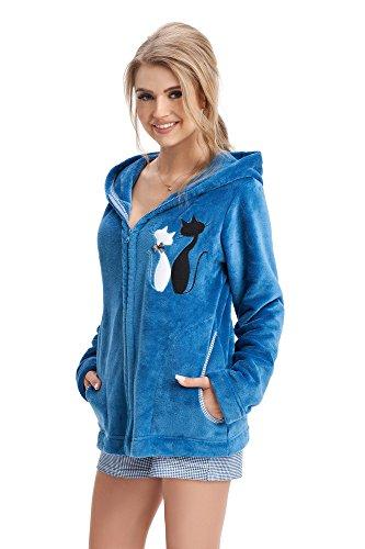 Preisvergleich Produktbild LEVERIE Trendige,  kuschelweiche Jacke / Bademantel / Pulli mit Kapuze,  blau mit Katzenmotiv,  Gr. S