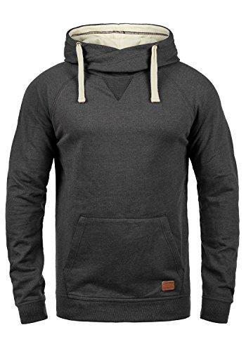 Blend Sales Herren Kapuzenpullover Hoodie Pullover Mit Kapuze Cross-Over-Kragen Und Fleece-Innenseite, Größe:L, Farbe:Charcoal (70818)