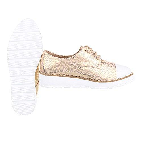 Ital-Design Schnürer Damenschuhe Oxford Schnürer Schnürsenkel Halbschuhe Gold 6355-P