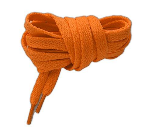 Lacci per calzature sportive, piatti, elevata qualità, 125 cm (arancione fluorescente)