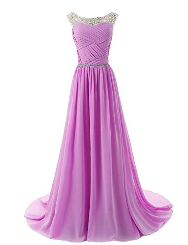 Dressystar Herzform Chiffon Lange Brautjungfernkleid Perlen Ballkleid Lilac