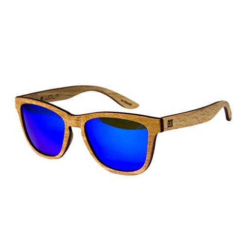 WOLA Damen Herren Sonnenbrille Holz AERO eckige Brille starke BrückeVollholz polarisiert UV400...