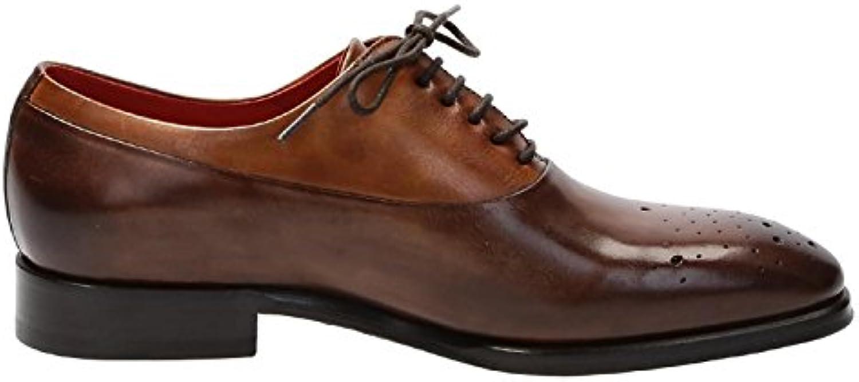 Leonardo Shoes Hombre 06460VITELLODELAVEBRANDY Marrón Cuero Zapatos De Cordones -
