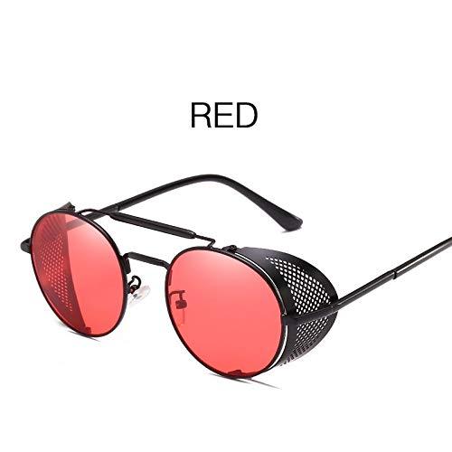 Sonnenbrille Runde Designer Steam Punk Metal Shields Sonnenbrille Männer Frauen UV400 Gafas De Sol (Lenses Color : 7)