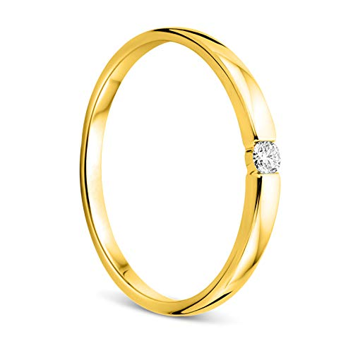 Orovi Anello da donna in oro bianco o giallo 0,05 carati solitario con diamante e anello di fidanzamento in oro 18 carati (750) e diamante brillante e Oro giallo, 52 (16.6), cod. OR9185R52
