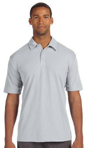 ALO Performance Herren Mesh Polo Shirt mit drei Tasten SPORT SILVER