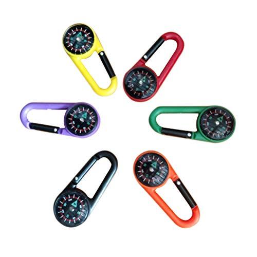 Toyvian 6 stücke Kompass Keychain Karabiner Clip Spielzeug Handbad Ornament für Wandern Backpacking Camping Kinder Spielzeug (Zufällige Farben)