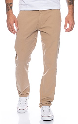 Rock Creek Herren Designer Chino Hose Regular Slim Chinohose RC-390 Dunkelbeige W36 L30