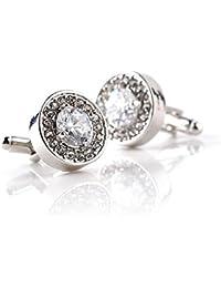 Hosaire 1 Pair Fashion Diamond Cufflinks Cuff Links Womens Mens Dress Business Wedding Cufflinks Gift Present(White)