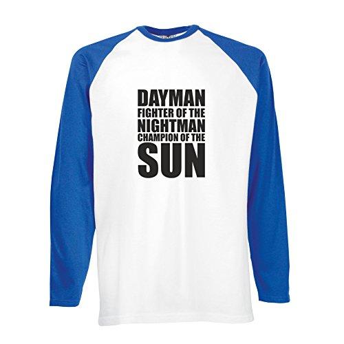 Brand88 - Dayman Fighter Of The Nightman, Langarm Baseball T-Shirt Weiss & Blau