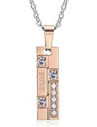 2b827d98d794 AnaZoz Collar Acero Inoxidable Collar de Unisex Colgante Collar Rectangular  Circonita Blanco Collar Hombre Mujer Collar