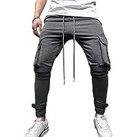 junkai Herren Retro Casual Hosen Große Tasche Fitness Klett-Slim-Jogginghose Sportwear Jogging-Outdoor-Hose Mit Kordelzug M-3XL