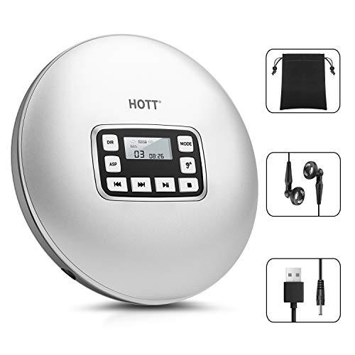 Lettore CD Portatile, HOTT Personal Compact Player Con Cuffie, Walkman Compatto Con Funzione Anti-Shock Di Protezione Elettronica Skip (Adattatore Di Alimentazione Non Incluso)