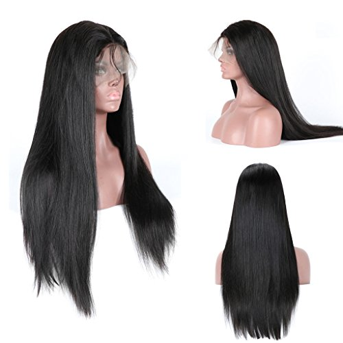 Andria Hair Straight Human Hair Wigs Natural Black 100% Brazilian Virgin Hair Lace Front Wigs for Black Women with Baby Hair and Bleached Knots (16\