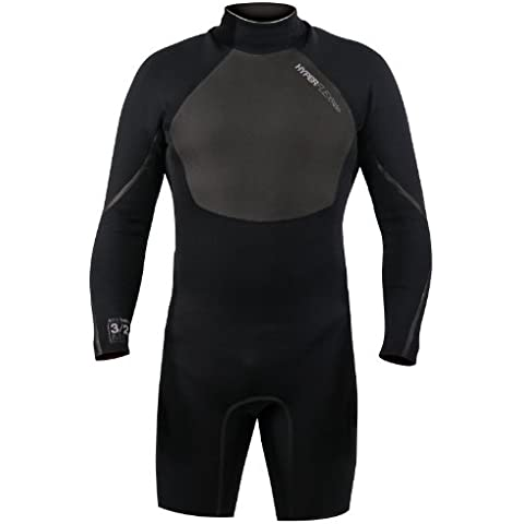Hyperflex Wetsuits Men's 2.5-mm Amp-3 Back Zip Long Sleeve Springsuit (Blac - Surfing, Windsurfing & Wakeboarding