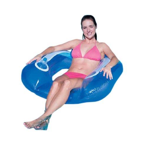 Schwimmsitz mit Getränkehalter Pool Badeinsel Luftmatratze in Blau