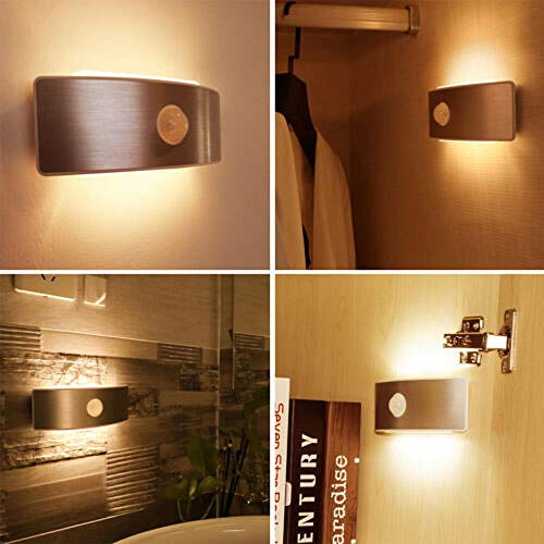 Smart Home LED menschlichen Körper Infrarot-Sensor Licht Nachtlicht wiederaufladbare Schlafzimmer Nachtwandleuchte @ Warm_white -