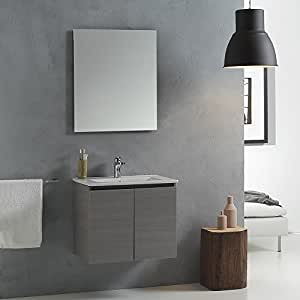 Mobile bagno con lavabo da 60 cm con ante in grigio mod for Mobili bagno amazon