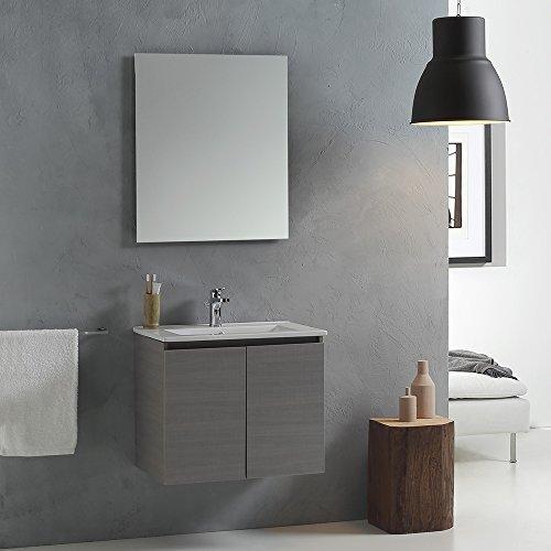 Mobile bagno con lavabo da 60 cm con ante in grigio mod. vinci