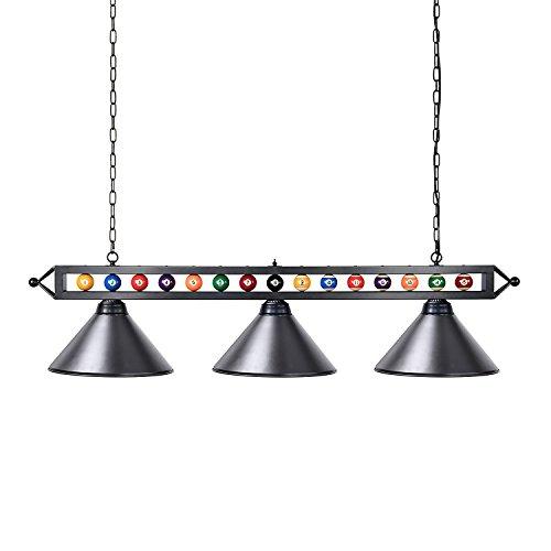 Billard-licht (Chende Billardlampe, 3-Licht Kücheninsel Pendelleuchte, 150cm Billardtischlampe geeignet für 213-274cm Billardtisch, mit Mattem Metallschirm, Schwarz)