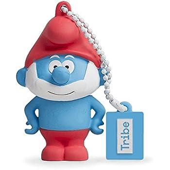 Tribe Los Pitufos Pitufo Papa - Memoria USB 2.0 de 8 GB Pendrive Flash Drive de goma con llavero, color azul