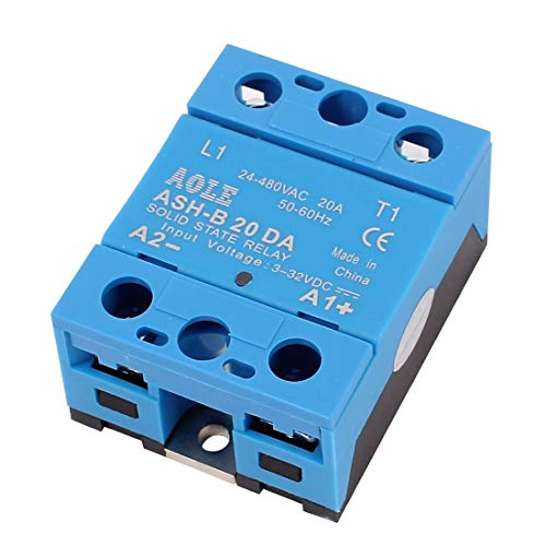 ZCHXD ASH-20DA 3-32VDC to 480VAC 20A Single Phase Solid State Relay DC to AC Relay