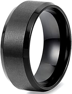 Flongo Breite 8mm Edelstahl Ring Ringe Herrenring Schwarz Band Valentine Lieben Paar Verlobung Engagement Verlobungsringe...