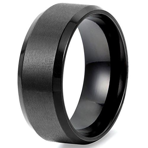 Flongo Breite 8mm Edelstahl Ring Ringe Herrenring Schwarz Band Valentine Lieben Paar Verlobung Engagement Verlobungsringe Hochzeit Herren 59MM
