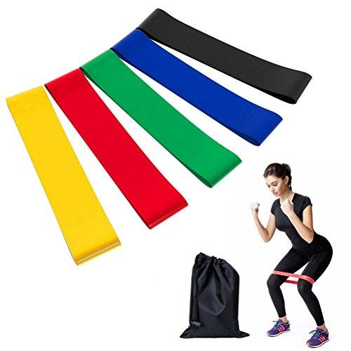 Foto de Bandas de resistencia/Bandas de ejercicio Fitness cinturón, kaihong 5pcs Premium, Gran mejora para ejercicio, Yoga, terapia física y entrenamiento cuerpo piernas glutes-suitable para mujeres y hombres