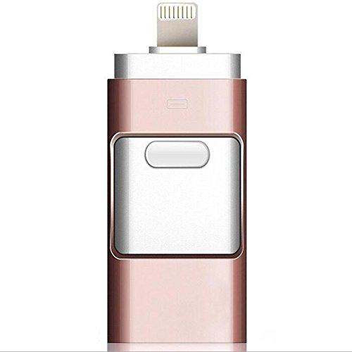 Kuuboo - Flash drive USB 3in 1 per iPhone 5/6/7/8/X/S Plus, Pen Drive OTG per Lightning micro USB 3.0,flash card da 128GB 64GB 32GB 16GB 8GB USB Stick Rose Glod 16