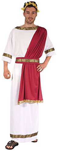 Da uomo bianco/rosso greco Dio romano Toga party storico costume travestimento