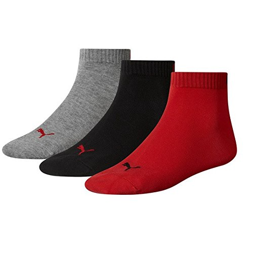 Running Puma Damen Kurze (PUMA Unisex Invisible Quarter Quarters Sportsocken Kurz Socken 6 Paar 251015, Sockengröße:35-38;Artikel:-232 black / red)