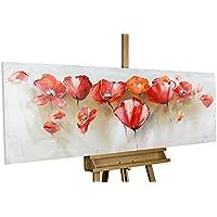 Dipinto in acrilico KunstLoft® 'Dichiarazione d'amore in un campo di papaveri' in 150x50cm | Tele originali manufatte XXL | papaveri rossi fiori | Quadro da parete dipinto in acrilico arte moderna