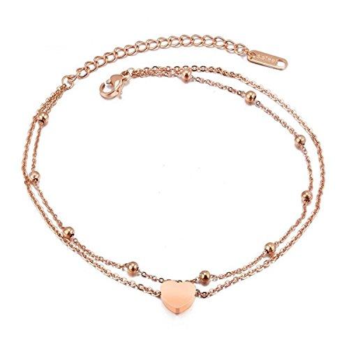 Verstellbares, silbernes Schlangen-Fußkettchen aus Edelstahl mit Perlen von Jlbuay, für Damen und Mädchen