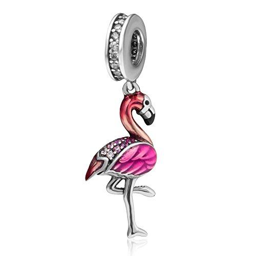 """Tanzender Flamingo""""-Charm-Anhänger von Soulbead, aus echtem 925er-Sterlingsilber, Tier-Perlen, bunter Zirkoniastein, Emaille, passend für europäische Halsketten, Armbänder, Schmuck für Mädchen"""