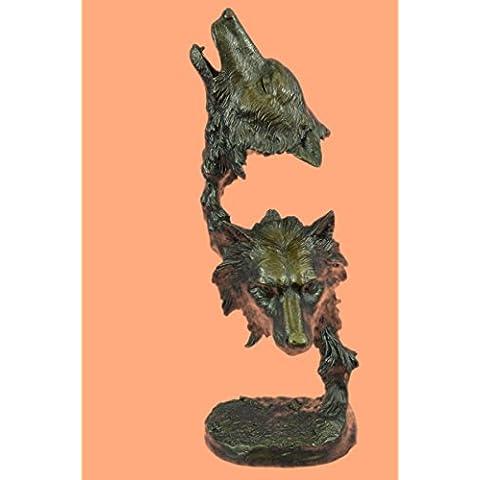 Escultura bronce estatua...Envío gratis...Los lobos originales Kanaev Dual Lobo cabeza de mármol del busto(DW-102-EU)Estatuas estatuilla estatuillas desnuda Oficina y Decoración del hogar Coleccionabl