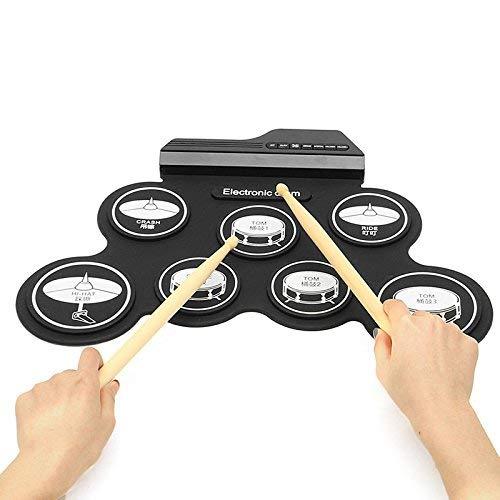SEXTT Professionelle Trommel-Elektronik Rollen Oben Trommel-Auflage, elektrische Faltbare Silikon-Tabellen-Handrolltrommel-Musik-Instrumente, Batterie/USB