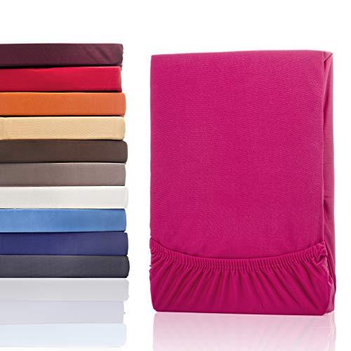 #1 Etérea Classic Microfaser Interlock Spannbettlaken, Spannbetttuch, Bettlaken, 9 Farben, 180x200 - 200x200 cm, Pink