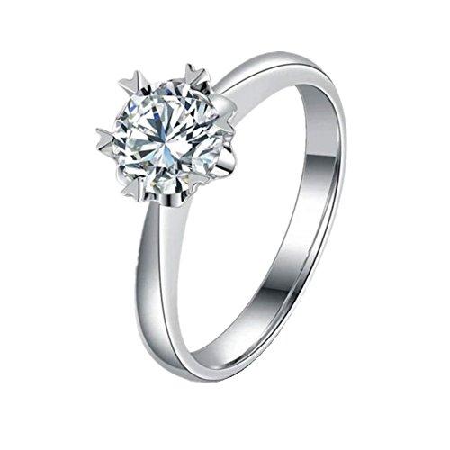 BIGBOBA Elegante copo de nieve plata anillo ajustable de apertura de compromiso anillo de boda pareja regalo joyas accesorios