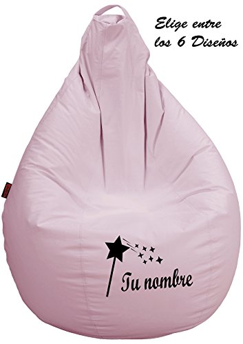 loconfort Puff Personalizado con TU Nombre Poli Piel Chocolate (L NIÑO/A, Rosa)