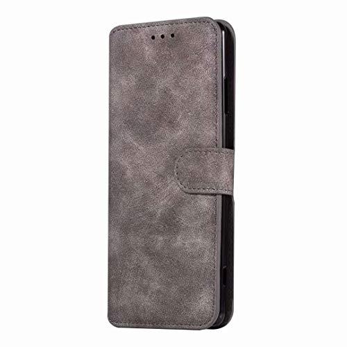 Sunrive Hülle Für ZTE Blade A512, Magnetisch Schaltfläche Ledertasche Schutzhülle Etui Leder Case Cover Handyhülle Tasche Schalen Lederhülle MEHRWEG(W8 Grau)