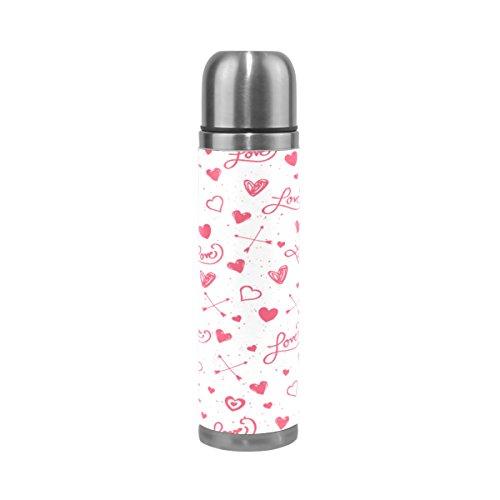 Alaza Love Herz und Pfeil Edelstahl Wasser Flasche 17Oz doppelwandige Vakuum Isoliert Thermoskanne Echt Leder Hülle (Wasser Flasche Pfeil)