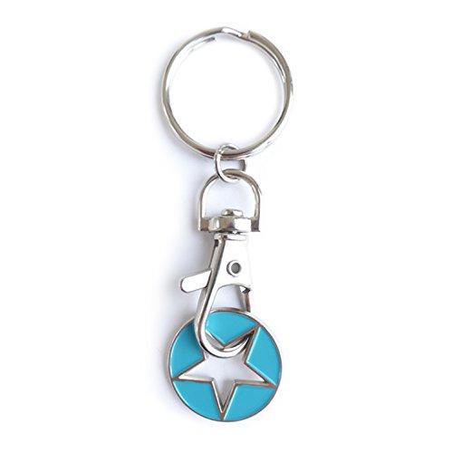 Einkaufswagenchip Vatertag - 3 GLÜCKS-STERNE, Türkis | Geschenk-, Taschen-, Dekor-, oder Schlüssel-Anhänger - handlackiert