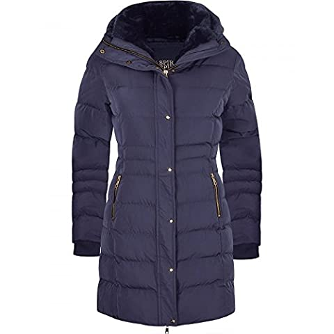 Women's Designer Winter Lined Parka Quilted Coat Fur Collar Hooded Long Ladies Womens Jacket UK 16 / X Large Navy