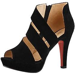 Sandalias de mujer Zapatos de tacón delgado de primavera casual Zapatos de tacón alto de peep toe Zapatos de tacón alto para mujeres con tacones altos LMMVP (37(CN), Negro)