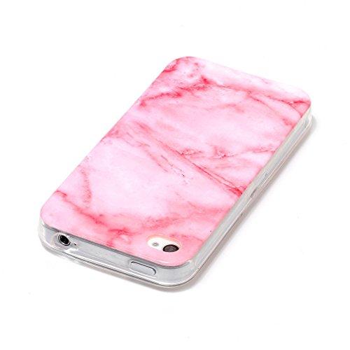 Coque iPhone 4/4S XiaoXiMi Étui de Texture en Marbre Housse Souple de Protection Soft Slim Case Étui en TPU Gel Silicone Coque Flexible Lisse Etui Ultra Mince Poids Léger Housse Anti Rayure Anti Choc- Rose Clair