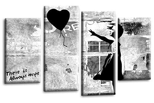 Le Reve Canvas Art Banksy Leinwandbild, Motiv: Mädchen mit Luftballon, Peace Hope Love Graffiti, Schwarz/Grau