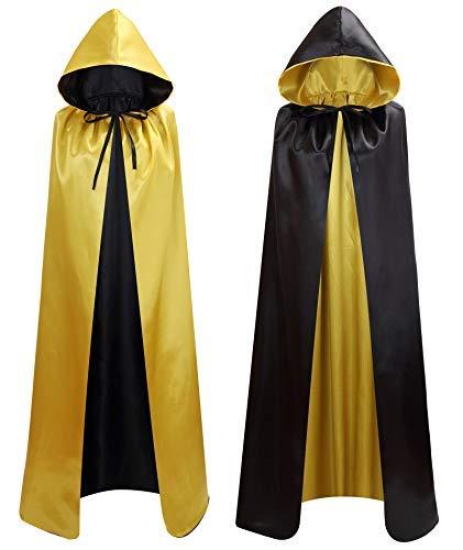 Makroyl Unisex Umhang mit Kapuze für Halloween, Weihnachten, Hexe, Party, Vampir, Cosplay, Kostüme Gr. Large, Black+Yellow