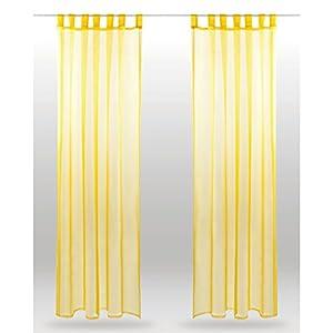 Bestlivings Schlaufenschal Noella, transparenter Dekoschal Voile b 140x l 145 cm 2er Pack, Wohnaccessoire in vielen erhältlich (gelb - lemongelb/ohne Raffhalter)